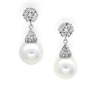 Borrow Jewelry: Pearl Drop Earrings: White Gold Stud